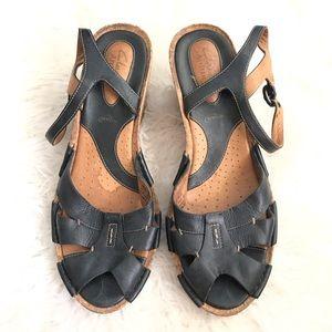 Clarks active air artisan leather wedge sandal
